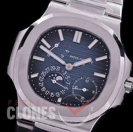 PP-5712-003S PPF Nautilus 5712 Date/Moon Phase Power Reserve SS/SS Blue Asian Customized Calibre 320