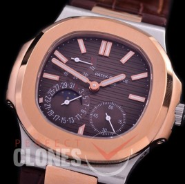 PP-5712-108 PF Nautilus 5712 Date/Moon Phase Power Reserve SS/RG/LE Brown Asian Customized Calibre 320
