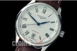 0 LG00201 Master Automatic Date SS/LE White Roman A-2836