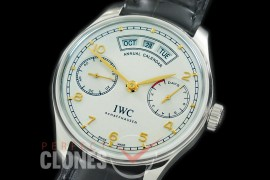 0 0 IWP7D00054C V2 Portugese 7 Days Annual Calender 5035 SS/LE White/Champagne Gold A-52850