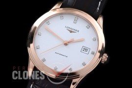 LG00164 Master Collection Automatic Date RG/LE White Diam M-9015
