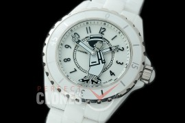 0 0 CHA-38-301 J12 Ladies Mademoiselle Coco Limited Edition CER/CER White Num Miyota 9015 Mod to Chanel Calibre