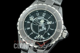 0 0 CHA-38-302 J12 Ladies Mademoiselle Coco Limited Edition CER/CER Black Num Miyota 9015 Mod to Chanel Calibre