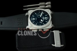 0 0 0 BR03-94-100 BR03-94 Chronograph SS/RU Black A-7750 Sec at 3 - Bundle with Free Nylon Velcro Strap with Toolkit
