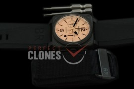 0 0 0 BR03-94-116 BR03-94 Desert Type Chronograph PVD/RU Amber A-7750 Sec at 3 - Bundle with Free Nylon Velcro Strap with Toolkit