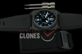 0 0 0 BR03-94-111 BR03-94 Chronograph PVD/RU Black A-7750 Sec at 3 - Bundle with Free Nylon Velcro Strap with Toolkit