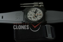 0 0 0 BR03-94-117 BR03-94 Rafale Limited Ed Chronograph PVD/RU Black A-7750 Sec at 3 - Bundle with Free Nylon Velcro Strap with Toolkit