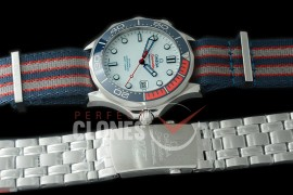0 0 OM300M-026N OMF 2018 Seamaster Diver 300M 007 Limited Edition SS/NT White Asian Clone 2824/2507 Free Nato Strap