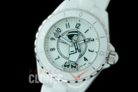 0 0 CHA-38-503 KOR-F New J12 H5241 Mademoiselle Coco CER/CER White A-2892 Mod to Chanel Calibre