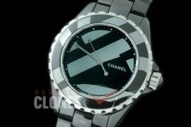 0 0 CHA-38-504B KOR-F New J12 H5581 Untitled CER/CER Rhodium Plated Decor A-2892 Mod to Chanel Calibre