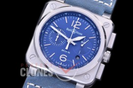 0 0 0 0 BR03-94-107 BR03-94 Chronograph Blue Steel SS/LE Blue A-7750 Sec at 3