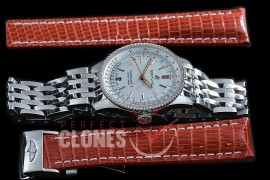 BLNV-38-101 Navitimer 38mm Automatic SS/SS White A-2824 Bundle with Leather Strap c/w Deployant