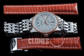 BLNV-38-106 Navitimer 38mm Automatic SS/RG/SS White A-2824 Bundle with Leather Strap c/w Deployant