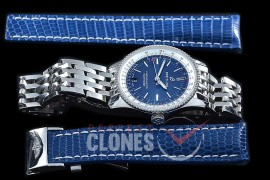 BLNV-38-103 Navitimer 38mm Automatic SS/SS Blue A-2824 Bundle with Leather Strap c/w Deployant