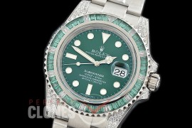 0 0 0 RLS-SP-028 NF Bling Special Edition Submariner 116610LV SS/SS Green A-2836