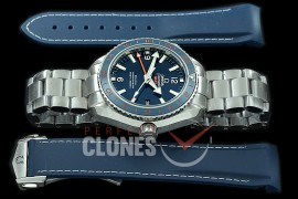 0 0 OMCPOGMT-084 XF Seamaster Planet Ocean Good Planet Foundation GMT 43.5mm Blue SS/SS VS 8605 Superclone - Rubber Strap Bundle