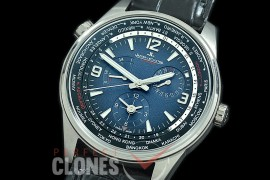 0 JLP-082 ZF Polaris Geographic World Time Reserve Duo Time SS/LE Blue Asian Modified Movt