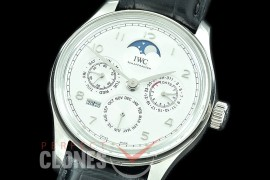 0 0 0 IWPPC-101 V9F Portugese Perpetual Calender IW502219 SS/LE White Asian Custom Movt