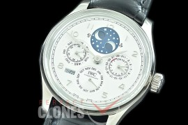 0 0 0 IWPPC-111 V9F Portugese Perpetual Calender IW503406 SS/LE White Asian Custom Movt