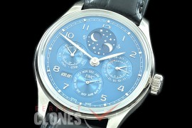 0 0 0 IWPPC-113 V9F Portugese Perpetual Calender IW503401 SS/LE Blue Asian Custom Movt