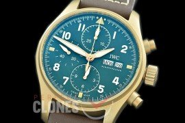 0 0 0 0 0 IWP00088A ZF Pilot Chronograph 387902 Spitfire Bronze Limited Edition BR/LE Green A-7750
