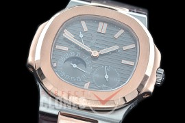 PP-5712-107 PF Nautilus 5712 Date/Moon Phase Power Reserve SS/RG/LE Grey Asian Customized Calibre 320