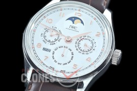 0 0 0 IWPPC-102 V9F Portugese Perpetual Calender IW502219 SS/LE White Asian Custom Movt