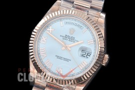 R40DDR00227 GMF Daydate 40mm 228235 904 Steel RG/RG Fluted Bez White Classic Roman A-2836