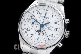 LG00081S Longines Master Calender Chronograph SS/SS White Num Asian 7751