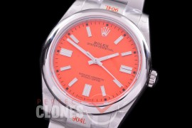 RLOY-41-025S GMF 904 Steel Osyter Perpetual 41mm 124300 SS/SS Coral Red Sticks SA 3230