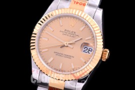 R31DJT-155 GMF 904 Steel Datejust Midsize 278383 SS/YG Fluted/Oyster Gold Sticks Asian Clone 2824