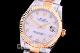 R31DJT-167 GMF 904 Steel Datejust Midsize 278383 SS/YG Fluted/Oyster MOP White Diamonds Asian Clone 2824