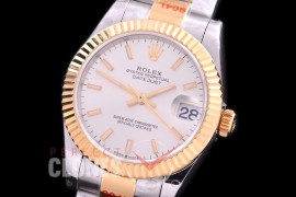 R31DJT-150 GMF 904 Steel Datejust Midsize 278383 SS/YG Fluted/Oyster Silver Sticks Asian Clone 2824