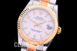 R31DJT-151 GMF 904 Steel Datejust Midsize 278383 SS/YG Fluted/Oyster White Sticks Asian Clone 2824