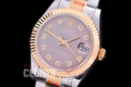 R31DJT-169 GMF 904 Steel Datejust Midsize 278383 SS/YG Fluted/Oyster MOP Brown Diamonds Asian Clone 2824