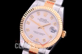 R31DJT-160 GMF 904 Steel Datejust Midsize 278383 SS/YG Fluted/Oyster Silver Diamonds Asian Clone 2824