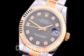 R31DJT-166 GMF 904 Steel Datejust Midsize 278383 SS/YG Fluted/Oyster Green Diamonds Asian Clone 2824