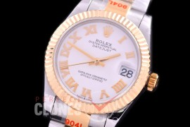 R31DJT-171 GMF 904 Steel Datejust Midsize 278383 SS/YG Fluted/Oyster White Roman Asian Clone 2824