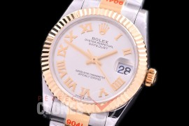 R31DJT-170 GMF 904 Steel Datejust Midsize 278273 SS/YG Fluted/Oyster Silver Roman Asian Clone 2824