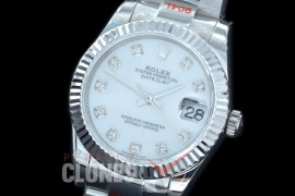 R31DJS-167 GMF 904 Steel Datejust Midsize 278274 SS/SS Fluted/Oyster MOP White Diamonds Asian Clone 2824