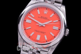 RLOY-41-035S GMF 904 Steel Osyter Perpetual 41mm 124300 SS/SS Coral Red Sticks SA 3230