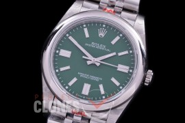 RLOY-41-034S GMF 904 Steel Osyter Perpetual 41mm 124300 SS/SS Green Sticks SA 3230