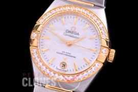 0 OMCON-29-126D Constellation Automatic Date 29mm SS/YG MOP White Sticks Eta 2688 Mod to Calibre 8700