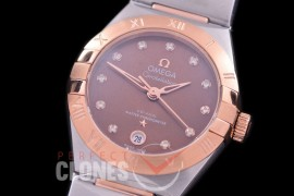 0 OMCON-29-155 Constellation Automatic Date 29mm SS/RG Brown Dial Eta 2688 Mod to Calibre 8700
