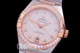 0 OMCON-29-158D Constellation Automatic Date 29mm SS/RG White Weave Dial Eta 2688 Mod to Calibre 8700