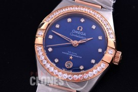 0 OMCON-29-154 Constellation Automatic Date 29mm SS/RG Blue Dial Eta 2688 Mod to Calibre 8700
