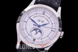 PP-5396-110L ARF Complications 5396 Annual Calender SS/LE White Miyota 9100 Mod to Calibre 324