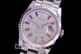 R36DDS-141 BP 128239RBR 2020 DayDate SS/SS Fluted/President Diamond Crested Rainbow Baguette A-2836