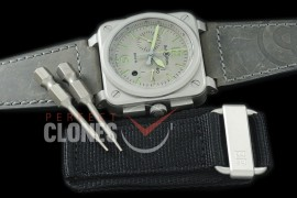 0 0 0 BR03-94-101 BR03-94 Horolum Chronograph Limited Ed SS/LE Grey A-7750 Sec at 3 - Bundle with Free Nylon Velcro Strap with Toolkit
