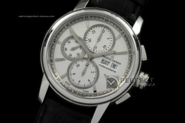 ML10031 Pontos Chronograph Day/Date SS/LE Wht A-77528800